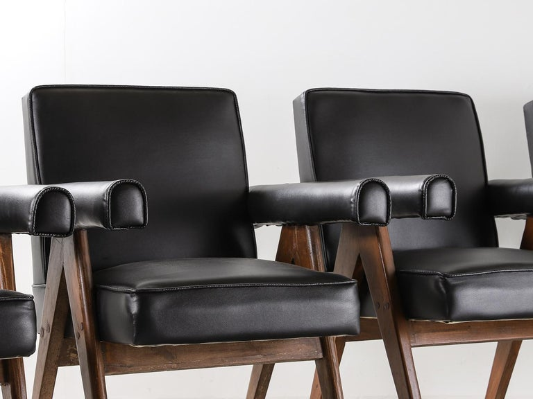 """Faux Leather Set of 4 Pierre Jeanneret """"Office Chair"""", circa 1959-1960 For Sale"""