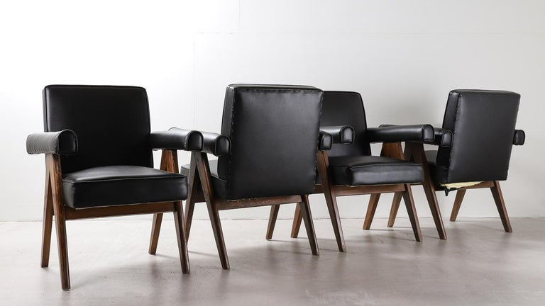 """Set of 4 Pierre Jeanneret """"Office Chair"""", circa 1959-1960 For Sale 1"""