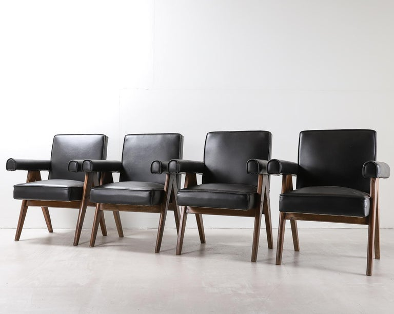 """Set of 4 Pierre Jeanneret """"Office Chair"""", circa 1959-1960 For Sale 2"""