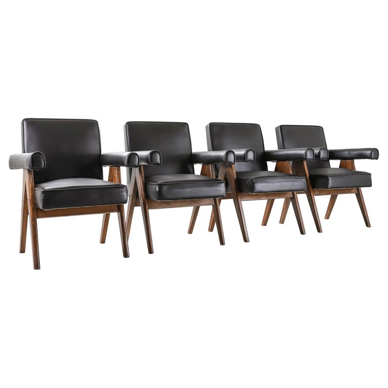 """Set of 4 Pierre Jeanneret """"Office Chair"""", circa 1959-1960 For Sale"""