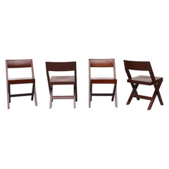Set of 4 Pierre Jeanneret Style Wood Dining Chairs