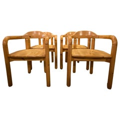 Set of 4 Pine Dining Chairs by Rainer Daumiller