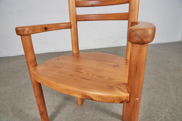 Set of 4 Pine Dining Chairs with Arms For Sale 5
