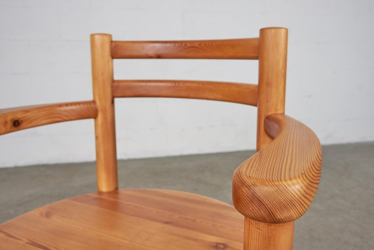 Set of 4 Pine Dining Chairs with Arms For Sale 6