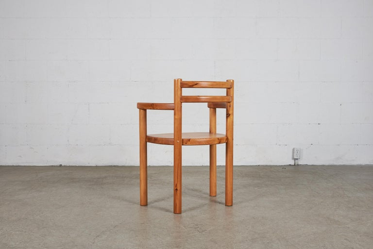 Set of 4 Pine Dining Chairs with Arms For Sale 2