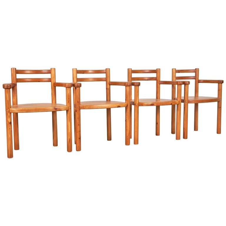Set of 4 Pine Dining Chairs with Arms For Sale