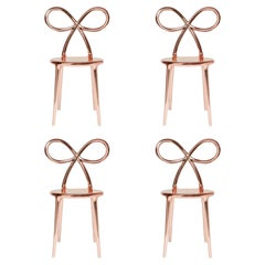 Set of 4 Pink Metallic Ribbon Chairs by Nika Zupanc, Made in Italy