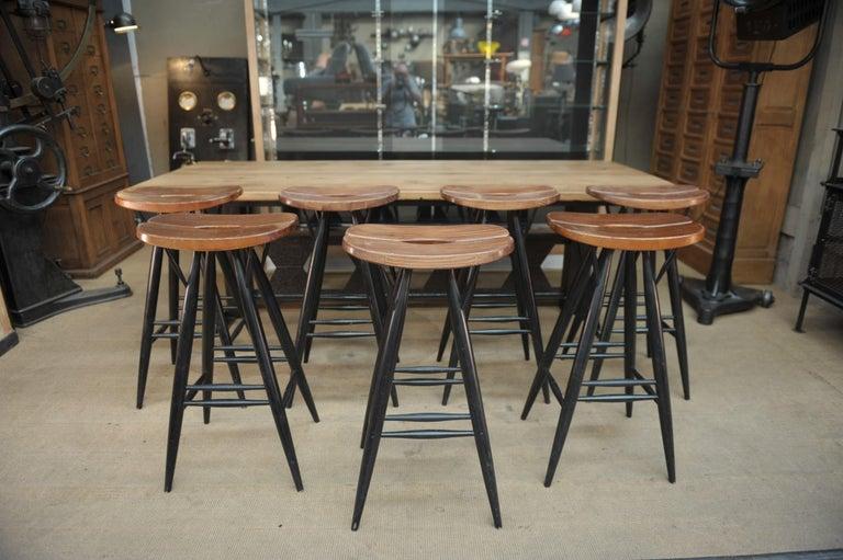 Set of 4 Pirkka Bar Stool by Ilmari Tapiovaara For Sale 4