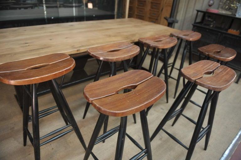 Mid-Century Modern Set of 4 Pirkka Bar Stool by Ilmari Tapiovaara For Sale