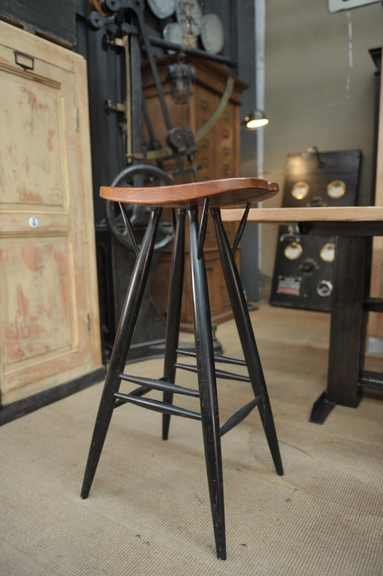 Set of 4 Pirkka Bar Stool by Ilmari Tapiovaara In Good Condition For Sale In Roubaix, FR