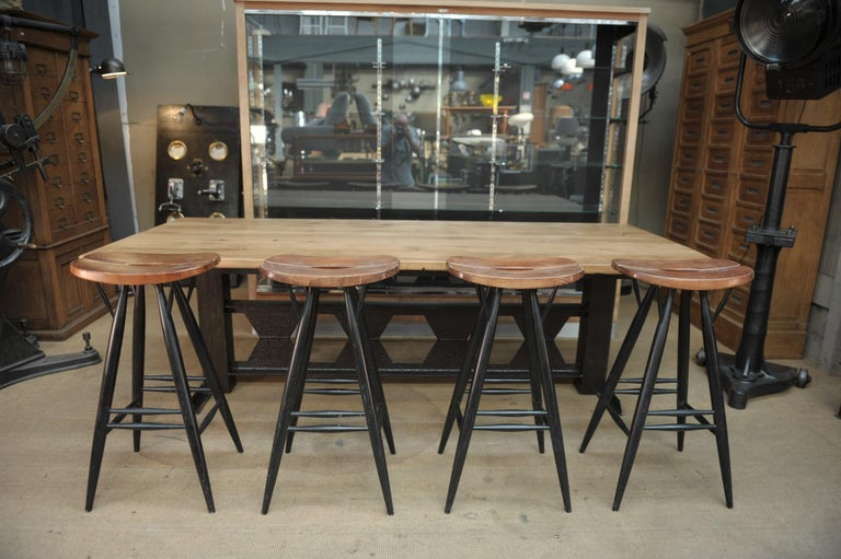 Beech Set of 4 Pirkka Bar Stool by Ilmari Tapiovaara For Sale