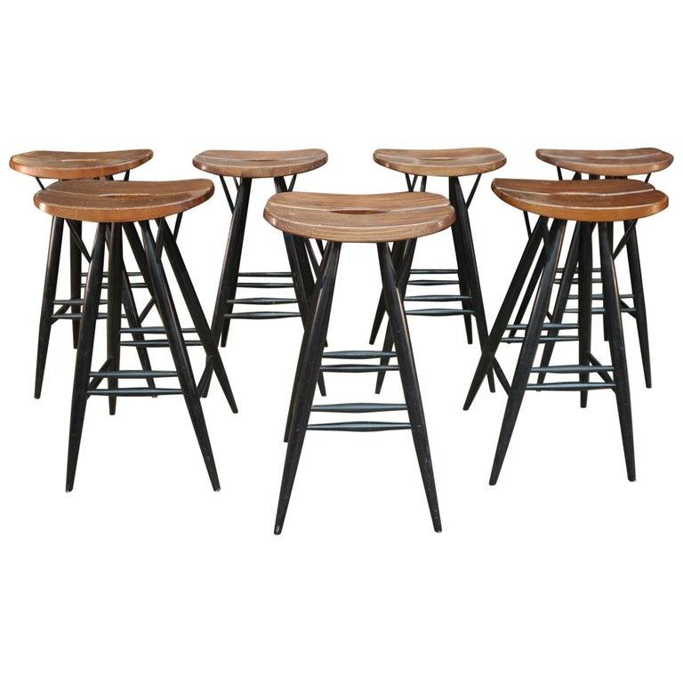 Set of 4 Pirkka Bar Stool by Ilmari Tapiovaara For Sale