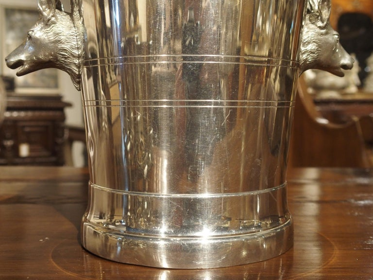 Set of 4 Polished Pewter Stag and Ibex Stirrup Cups with Ice Bucket For Sale 7