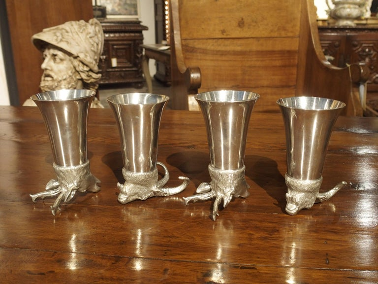 Set of 4 Polished Pewter Stag and Ibex Stirrup Cups with Ice Bucket For Sale 8