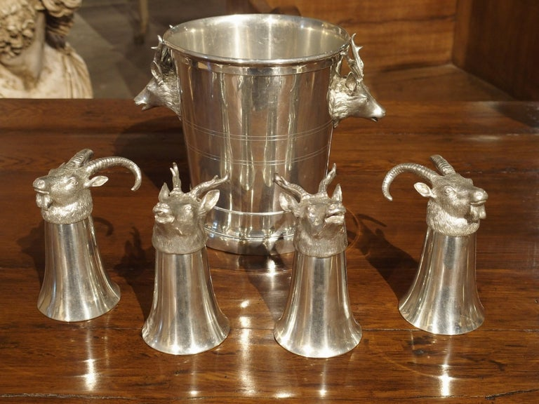 Set of 4 Polished Pewter Stag and Ibex Stirrup Cups with Ice Bucket For Sale 15
