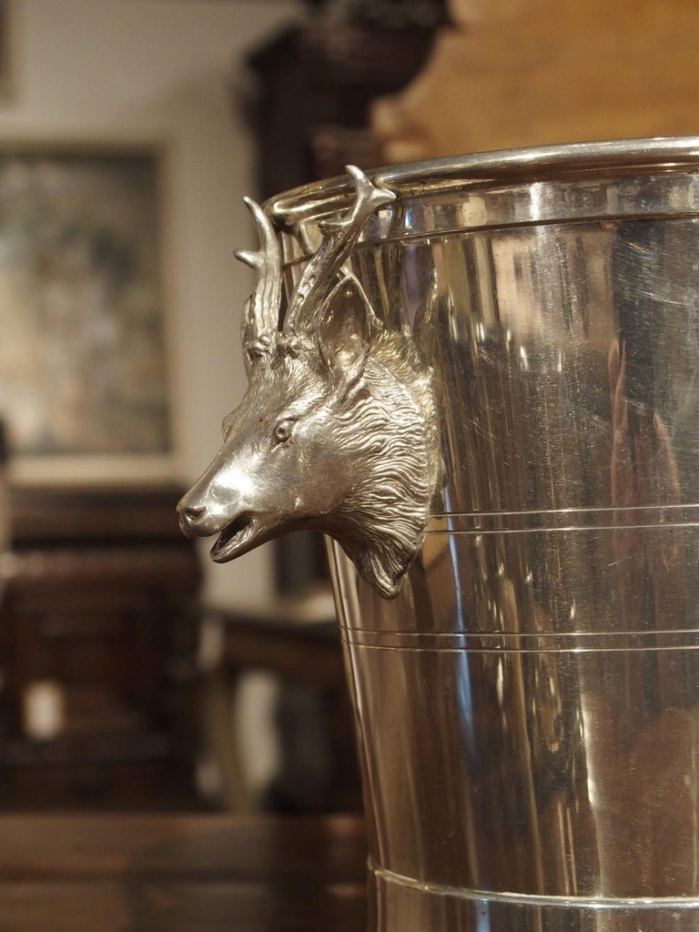 Set of 4 Polished Pewter Stag and Ibex Stirrup Cups with Ice Bucket For Sale 3