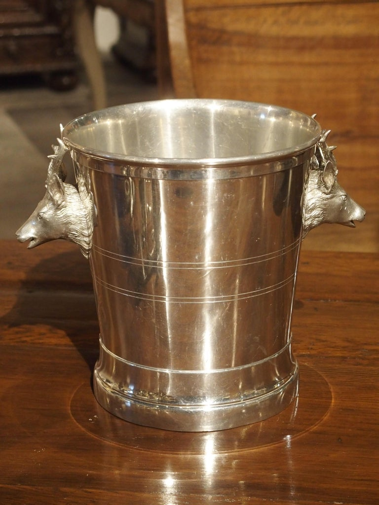 Set of 4 Polished Pewter Stag and Ibex Stirrup Cups with Ice Bucket For Sale 5