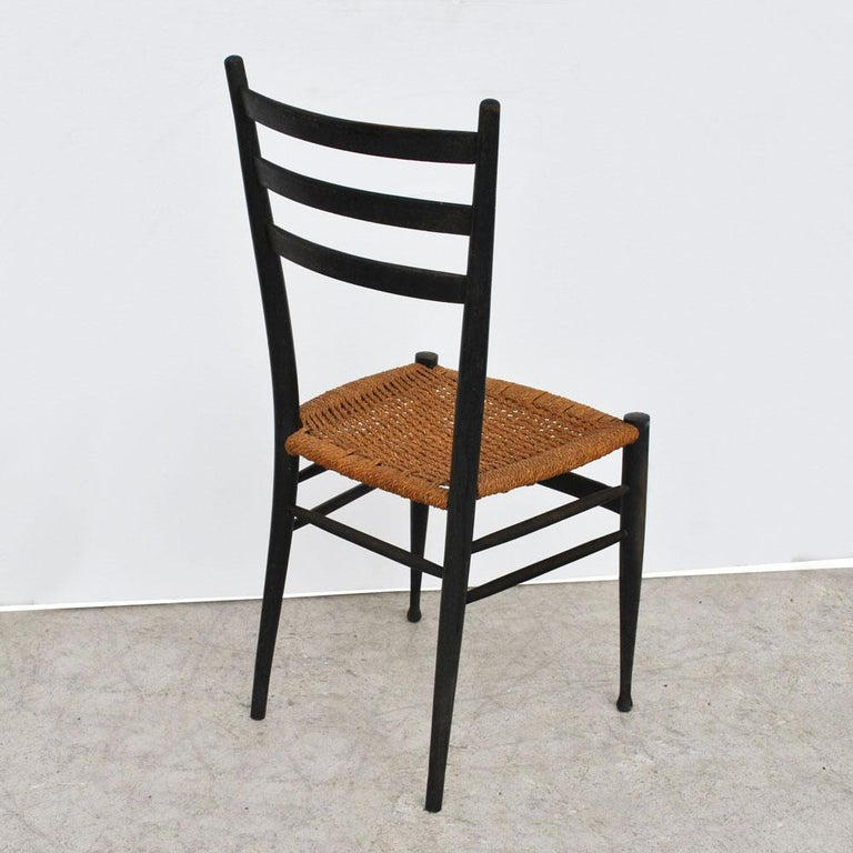 Mid-20th Century Set of 4 Ponti Style Italian Ladder Back Chairs with Paper Cord Seats For Sale