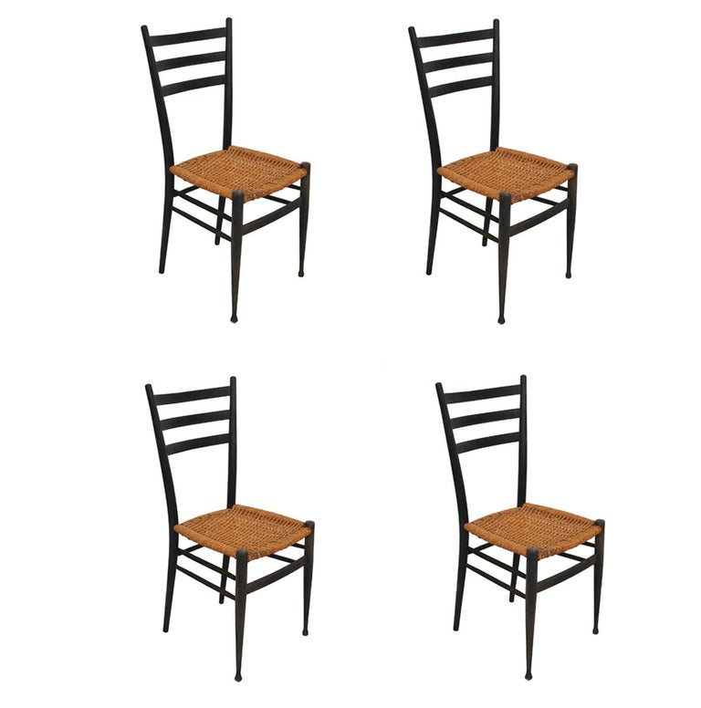 Set of 4 Ponti Style Italian Ladder Back Chairs with Paper Cord Seats For Sale