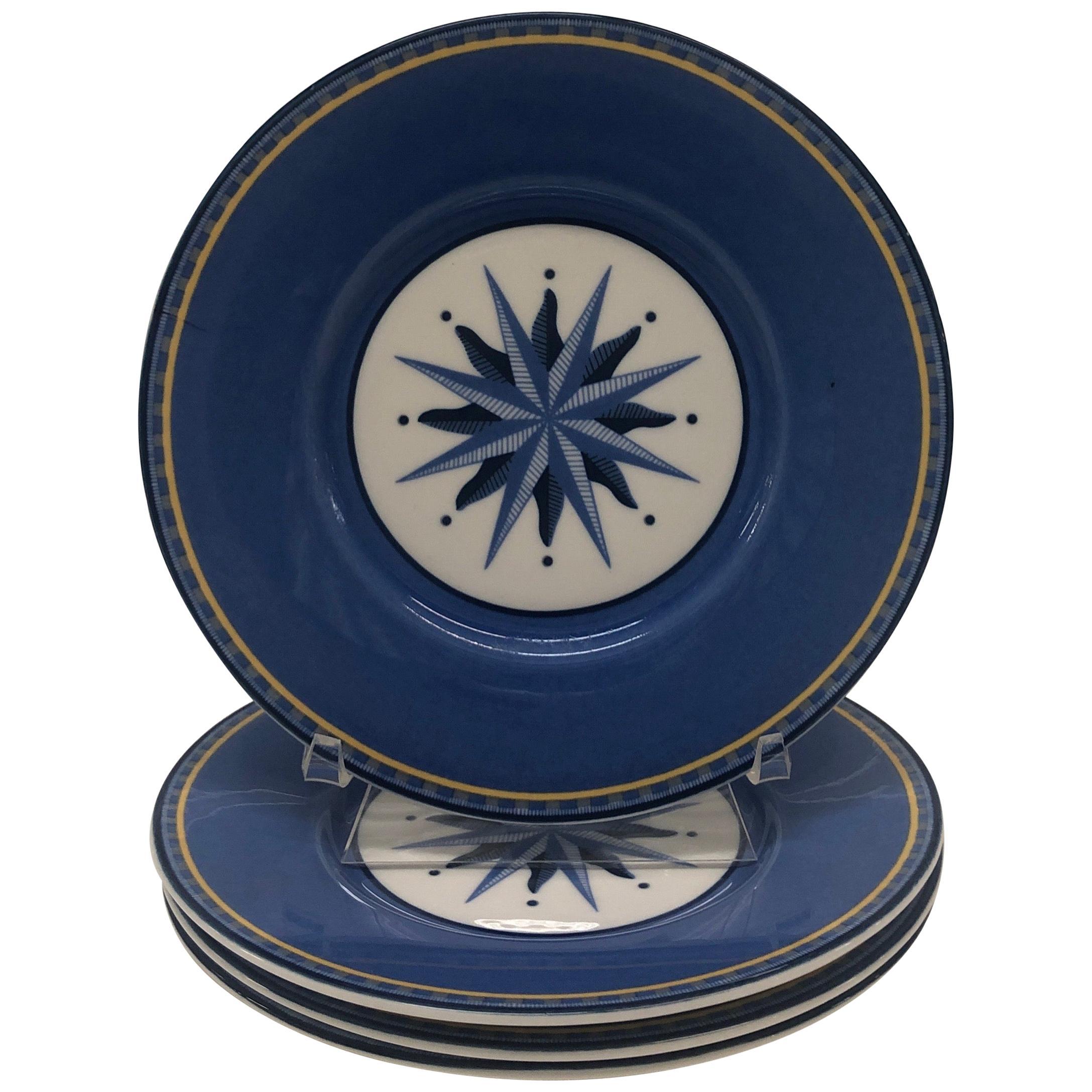 Set of (4) Porcelain Dessert Blue and White Dessert Plates