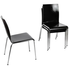Set of 4 Poro L Black Dining Chairs in Beech, Made in Switzerland, in Stock