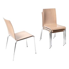 Set of 4 Poro L Chairs, Beech Natural, Made in Switzerland, in Stock