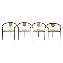 Set of 4 Postmodern Three-Legged Dining Chairs