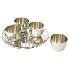 Set of 4 Preisner Pewter Beverage Cups and Tray