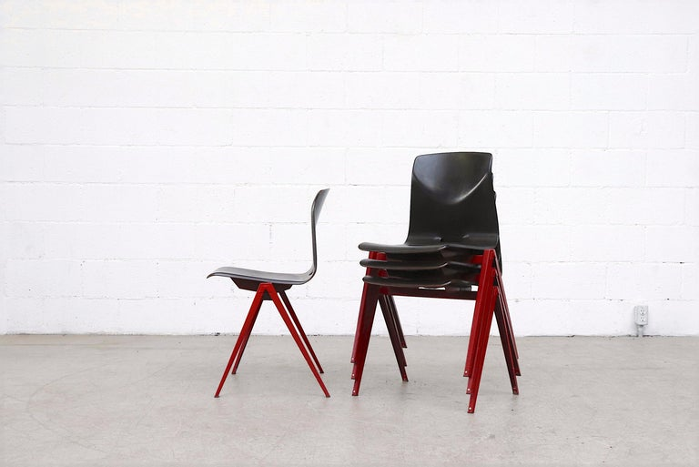 Set of 4 Prouve Style Single Shell Stacking Chair with Wine Red Legs In Good Condition For Sale In Los Angeles, CA