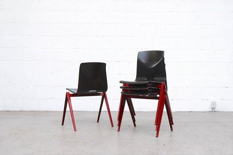 Late 20th Century Set of 4 Prouve Style Single Shell Stacking Chair with Wine Red Legs For Sale