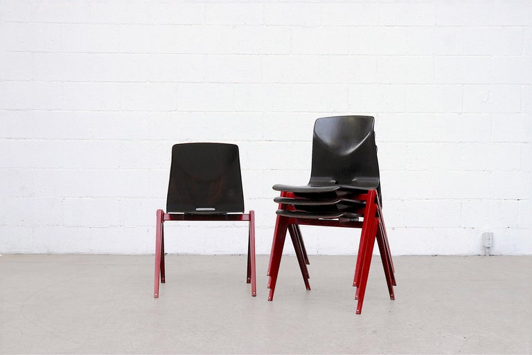 Metal Set of 4 Prouve Style Single Shell Stacking Chair with Wine Red Legs For Sale