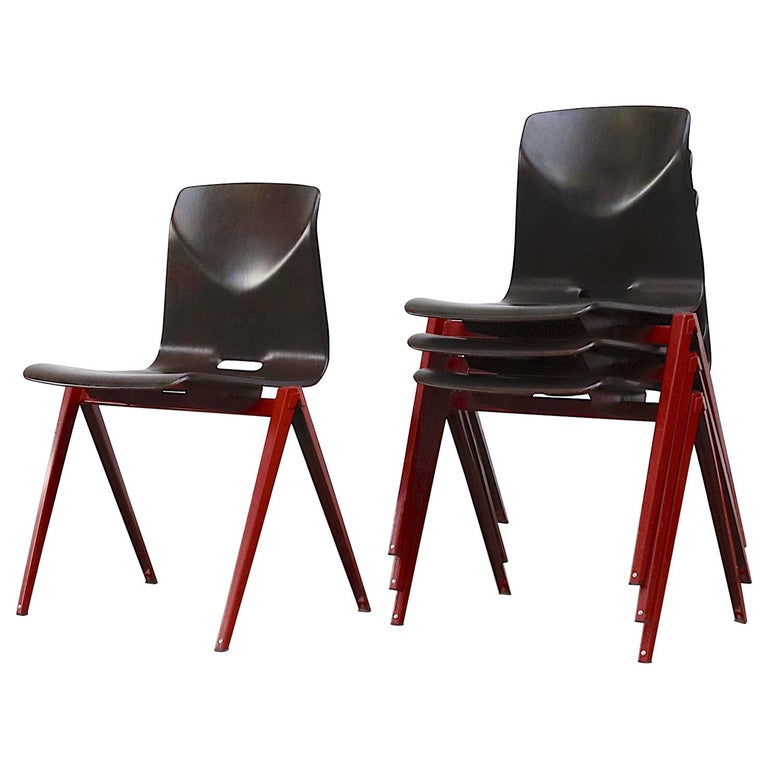 Set of 4 Prouve Style Single Shell Stacking Chair with Wine Red Legs For Sale