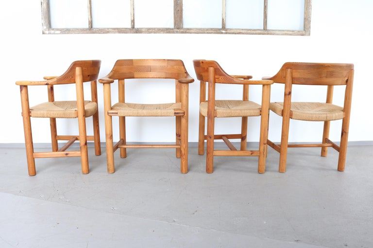 Mid-Century Modern Set of 4 Rainer Daumiller Dining Armchairs in Solid Pinewood and Papercord Seat For Sale