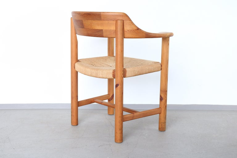 Set of 4 Rainer Daumiller Dining Armchairs in Solid Pinewood and Papercord Seat For Sale 1