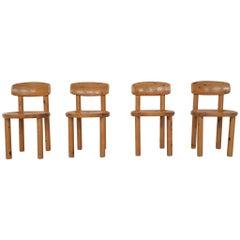 Set of 4 Rainer Daumiller for Hirtshals Savvaerk Pinewood Dining Chairs, Denmark
