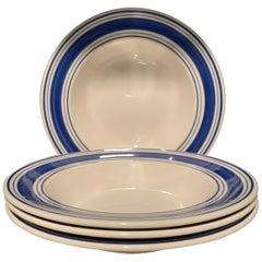 Set of 4 Ralph Lauren Farmstead Blue Ticking Rimmed Soup / Pasta Bowls