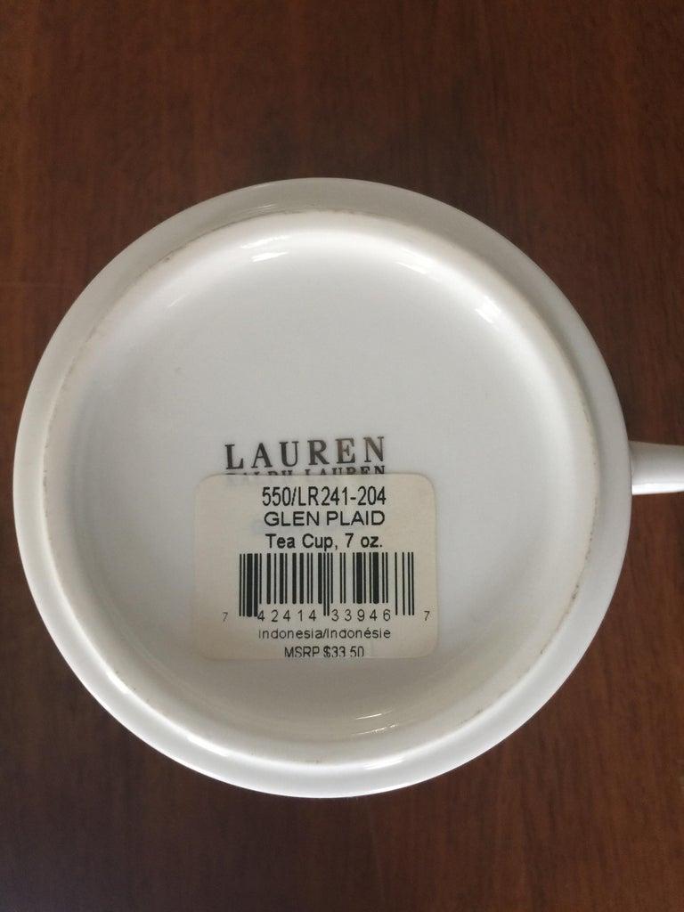 Contemporary Set of 4 Ralph Lauren Glen Plaid Porcelain Place Settings For Sale