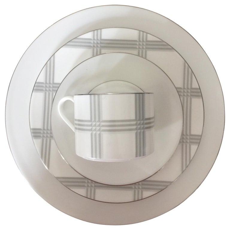 Set of 4 Ralph Lauren Glen Plaid Porcelain Place Settings For Sale