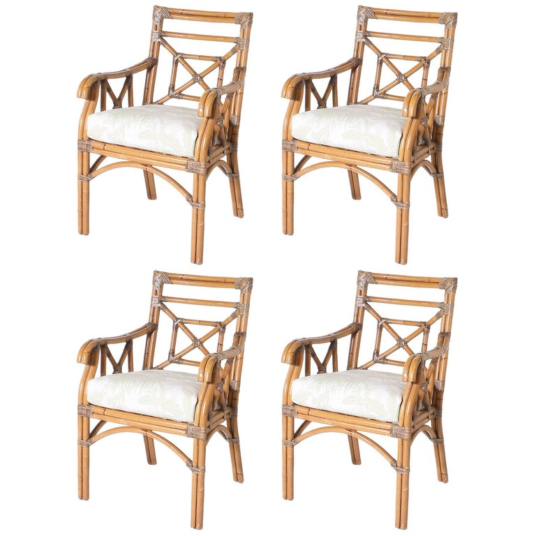 Set of Four Rattan and Bamboo Armchairs, circa 1960