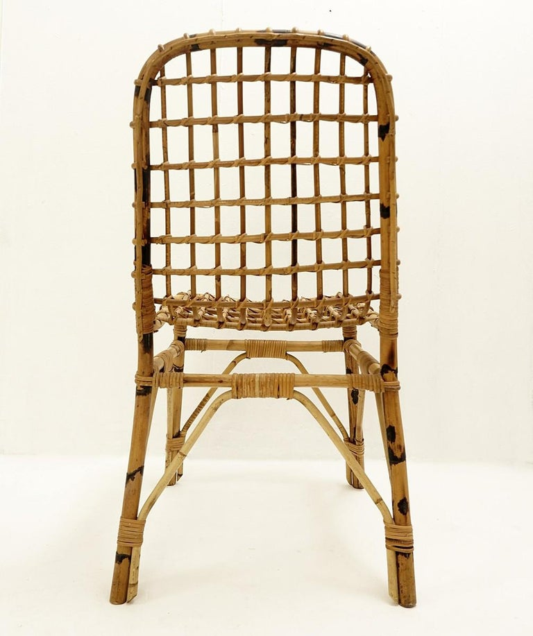 Italian Set of 4 Rattan Chairs, 1960s For Sale