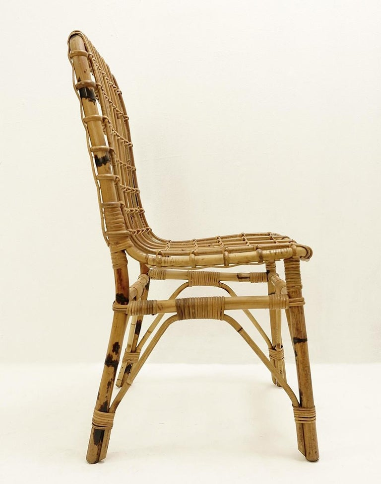 Set of 4 Rattan Chairs, 1960s For Sale 1