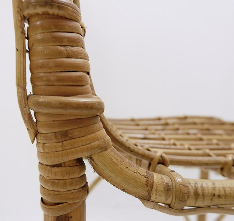 Set of 4 Rattan Chairs, 1960s For Sale 2