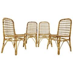 Set of 4 Mid-Century Modern Rattan Chairs, 1960s