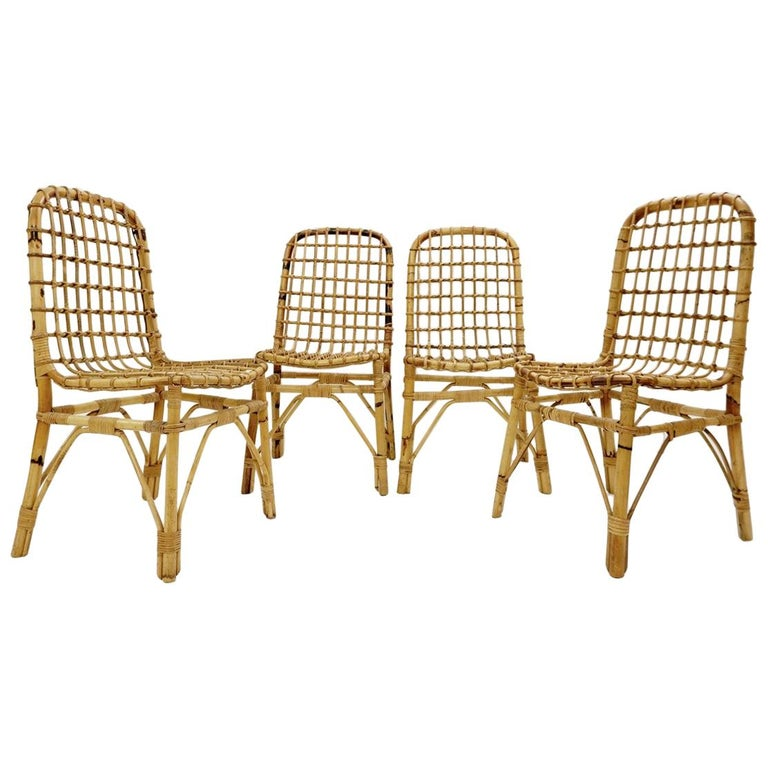 Set of 4 Rattan Chairs, 1960s For Sale