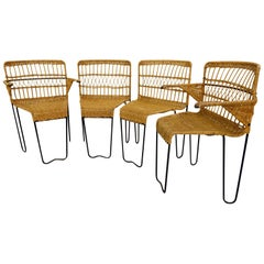 Set of 4 Rattan Chairs by Raoul Guys for Airborne, 1950s