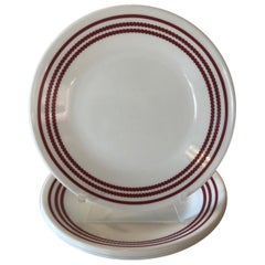 Set of '4' Red and White Dessert Plates