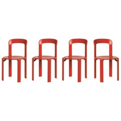 Set of 4 Red Rey Chairs by Dietiker, a Swiss Icon since 1971