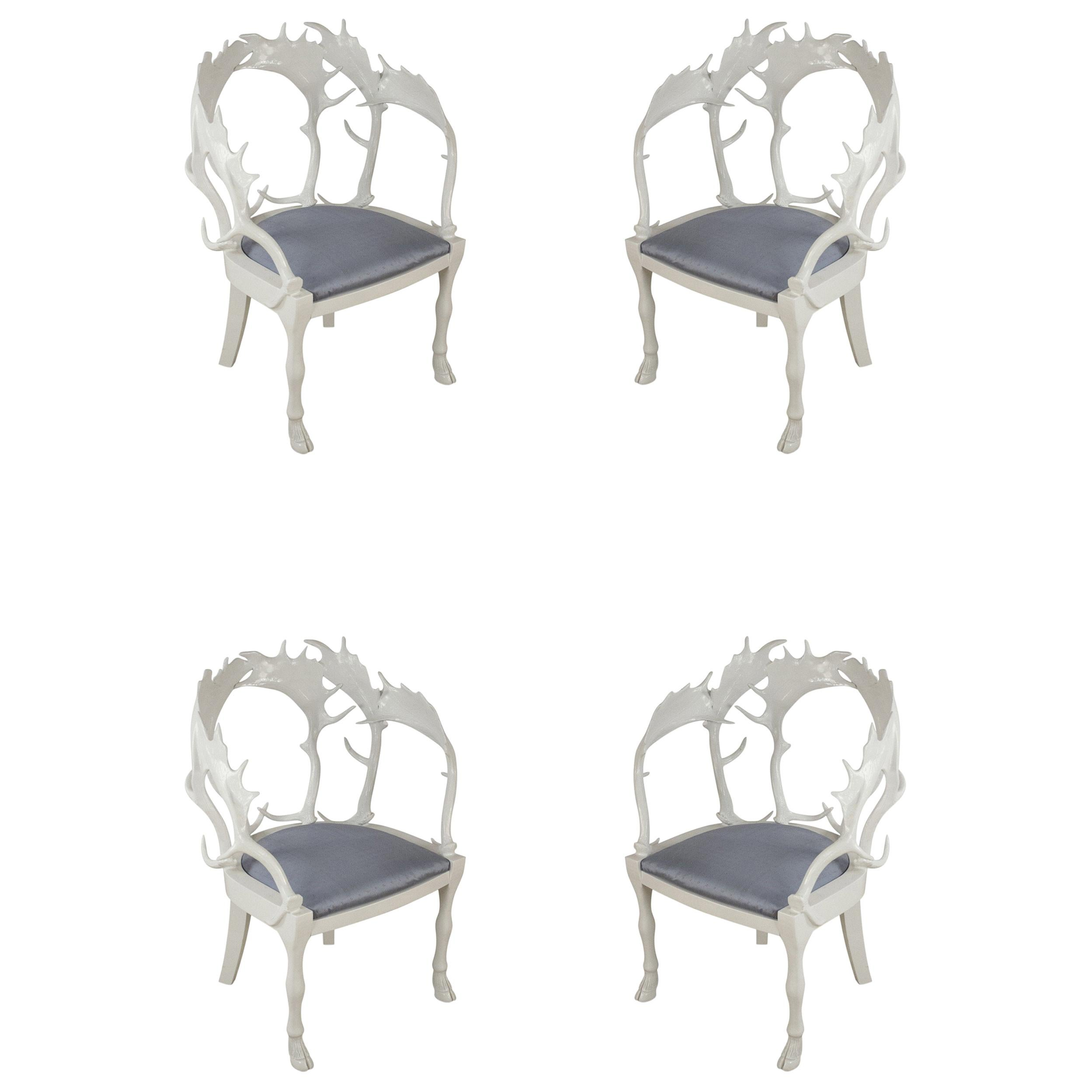 Set of 4 Redmile Postmodern English White Lacquered Fantasy Horn Chairs