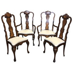 Set of 4 Remarkable Dutch Marquetry Dining Chairs