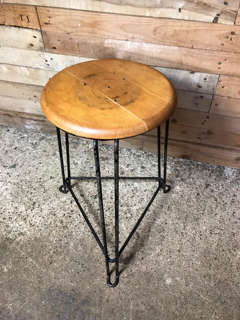 Phenomenal Set Of 4 Retro 1960S Wooden Seat With Metal Frame Tomado Stools Squirreltailoven Fun Painted Chair Ideas Images Squirreltailovenorg